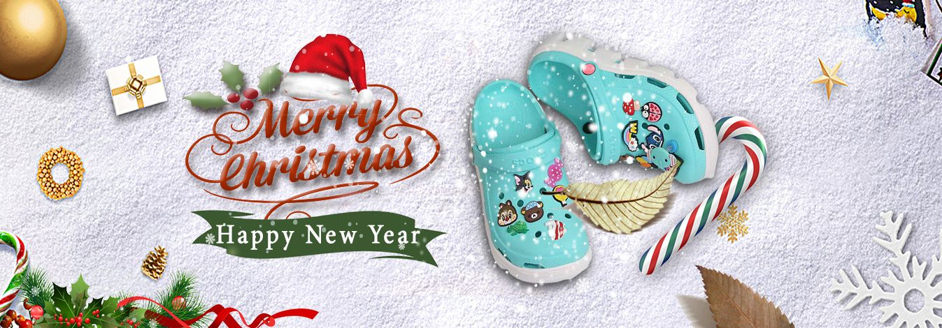 Banner giày dép Crocs Bơsin Marry Christmas Noel 2019 và Happy New Year 2020